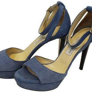 JIMMYCHOO Kayden Denim Platform Sandals Size39.1/2